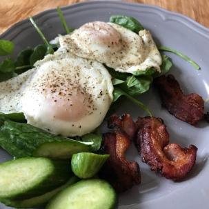 Eggs on greens, so basic!