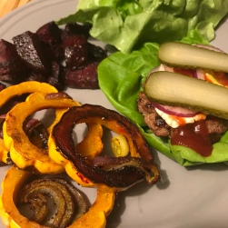 Delicata squash and a burger without a bun, and beets on the side