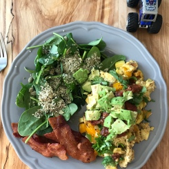 Egg scramble with avocado, bacon and spinach